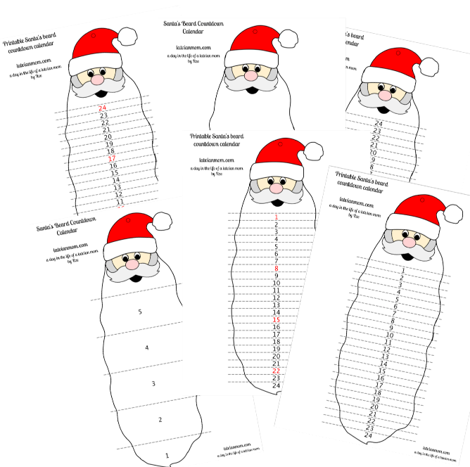 graphic about Printable Beard named Printable Santas Beard Countdown Calendar a working day inside of the